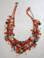 Load image into Gallery viewer, Vintage Signed Anka Faux Coral, Green & Clear Glass & Crystals 2-Strand Necklace