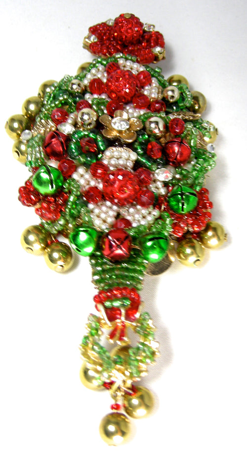 Huge Signed Anka Christmas Tree Brooch W/Gold Tone Balls - JD10157