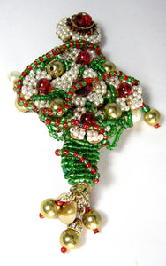 Large Signed Anka Christmas Tree Brooch W/Gold Tone Balls - JD10153