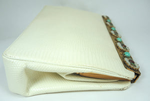 Vintage Anton Moritz Cream Color & Faux Turquoise Stone Snakeskin Hand Bag