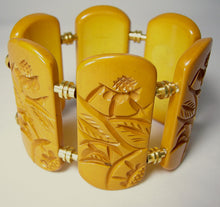 Load image into Gallery viewer, Vintage Butterscotch Etched Bakelite Bracelet