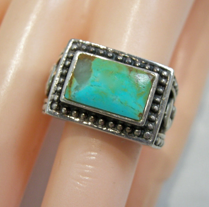 Vintage Signed Barse Turquoise & Sterling Ring, Size 6