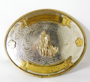 Signed Collectible Tony Lama German Silver & Bronze Belt Buckle