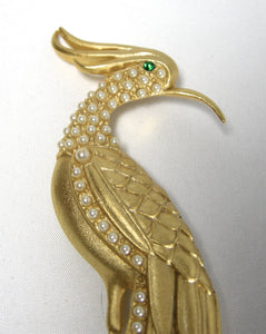Vintage Huge Crane Bird Brooch