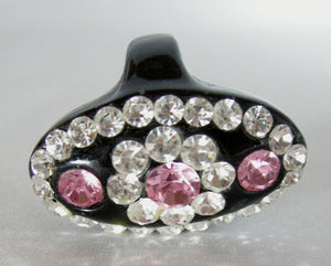 Vintage 80s Clear & Pink Rhinestone Elongated Floral Ring – Size 7-1/4