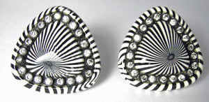 Vintage 1930s Zebra Design Rhinestone Earrings
