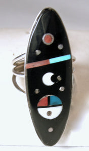 Vintage Signed H. Smith Onyx, Turquoise, Coral, MOP, Sterling Silver Ring, Sz 6.5