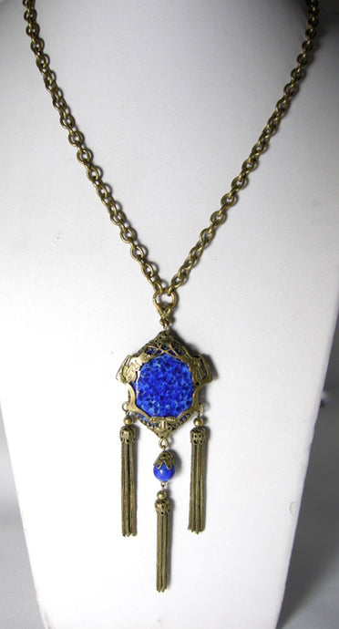 Vintage 1930s Victorian Czech Blue Necklace
