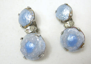 Vintage Iridescent Drop Clip Earrings