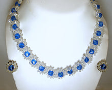 Load image into Gallery viewer, Vintage 1940s Blue & Clear Glass Floral Necklace & Earrings