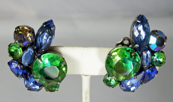 Vintage  Schreiner Multi-Color Crystal Earrings