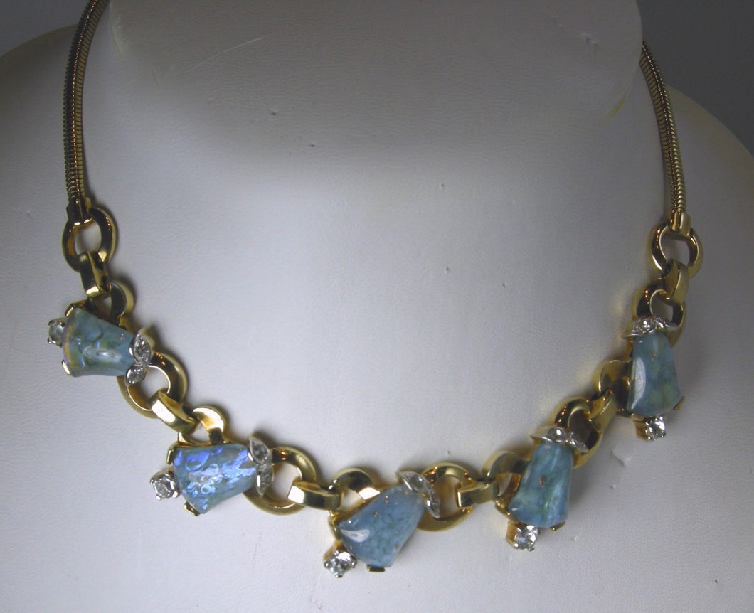 Vintage Signed Mazer Bros. Blue Necklace