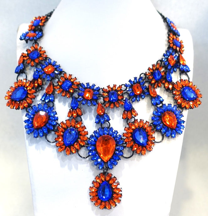 Brilliant Blue & Orange Color Crystal Bib Necklace