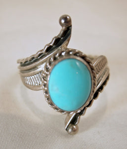 Vintage Navajo-American Indian Signed Raymond Delgarito Turquoise & Sterling Ring, Size 9.5