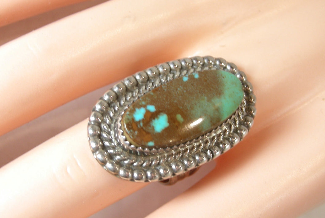 "Vintage Navajo American Indian Signed ""M""Turquoise Sterling Ring, Size 8"