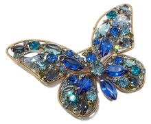 Load image into Gallery viewer, Vintage Weiss Multi-Color Crystal Butterfly Brooch
