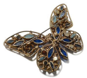 Vintage Weiss Multi-Color Crystal Butterfly Brooch