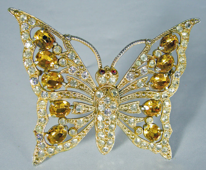 Vintage Unsigned Large Staret Crystal Butterfly Brooch/Pin