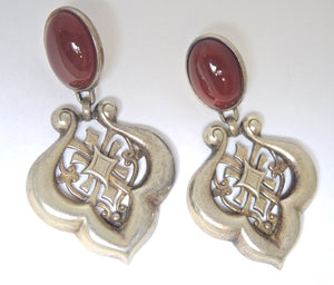 Vintage Faux Carnelian & Scalloped Drop Earrings