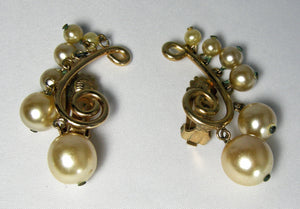 Vintage Signed Castlecliff Faux Pearl Earrings