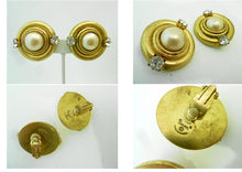 Load image into Gallery viewer, Vintage 1970's Signed Chanel Faux Pearl & Rhinestone Earrings
