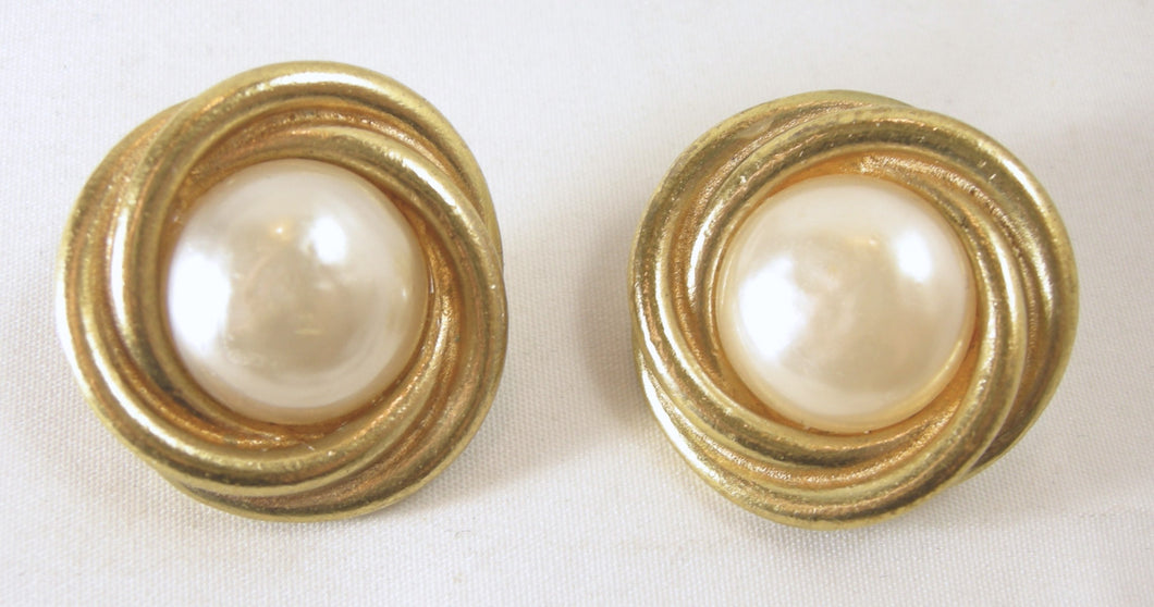 Vintage Signed Chanel Faux Pearl Buttons