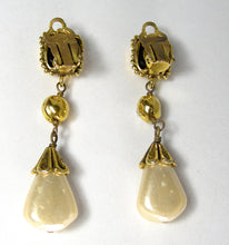 Load image into Gallery viewer, VINTAGE CHANEL SIGNED DROP FAUX PEARL GRIPOIX EARRINGS - JD10215