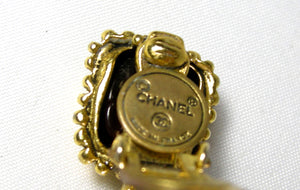 VINTAGE CHANEL SIGNED DROP FAUX PEARL GRIPOIX EARRINGS - JD10215