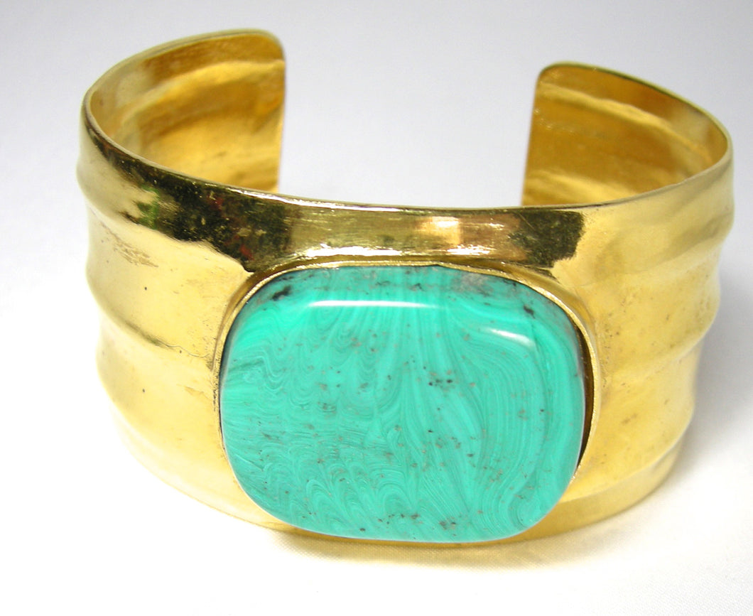 Signed Chanel 96P Cuff Bracelet With Turquoise Center  - JD10224