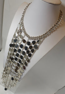 Vintage Extremely Long 1960s Chrome Drop Bib Necklace
