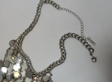 Load image into Gallery viewer, Vintage Extremely Long 1960s Chrome Drop Bib Necklace