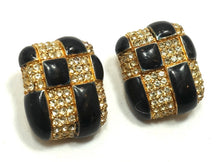 Load image into Gallery viewer, Vintage Signed Ciner Black & Crystal Earrings