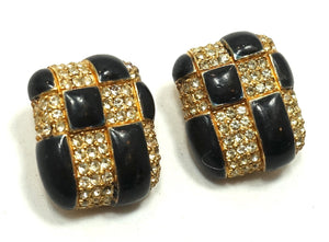 Vintage Signed Ciner Black & Crystal Earrings