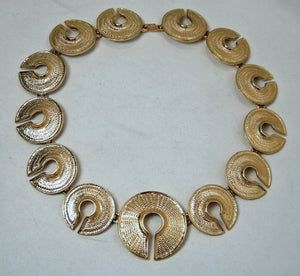 Vintage Textured Circle Link Necklace