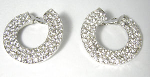 Vintage Rhinestone Circle Clip Earrings