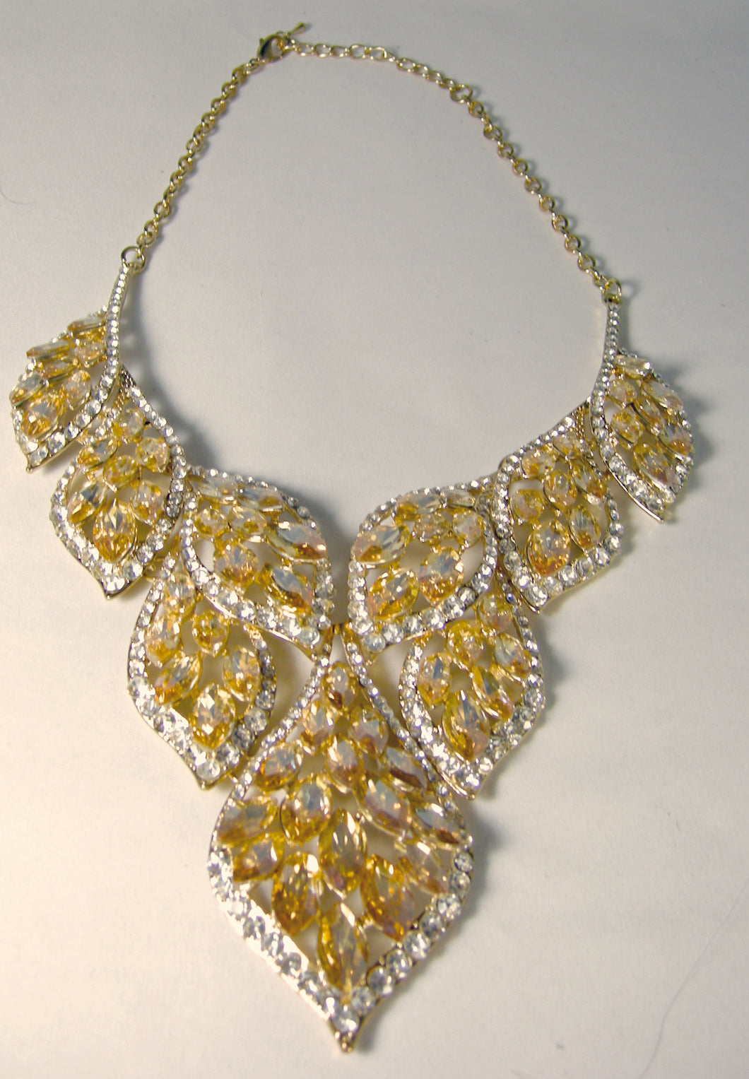 Large Stunning Faux Citrine and Clear Crystal Bib Necklace