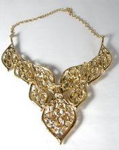 Load image into Gallery viewer, Large Stunning Faux Citrine and Clear Crystal Bib Necklace - JD10187