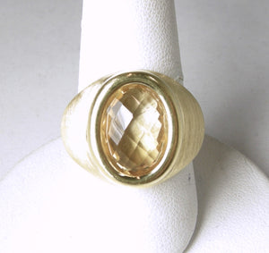"Made in ""Italy"" Sterling Silver & Gold Citrine Ring"