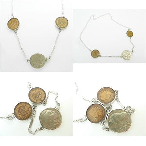 Vintage Sterling Silver 1923 Indian Head Nickel & 1897 & 1901 Indian Head Penny Necklace