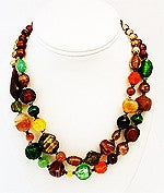 Vintage 2-Strand Multi-Color Glass Foil Bead Necklace