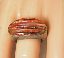 Load image into Gallery viewer, Vintage Navajo American Indian Carved Coral Sterling Ring