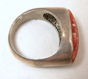 Vintage Navajo American Indian Carved Coral Sterling Ring