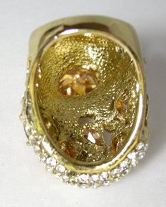 Large Citrine CZs & Clear CZs Cocktail Ring
