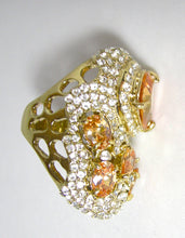 Load image into Gallery viewer, Large Citrine CZs & Clear CZs Cocktail Ring
