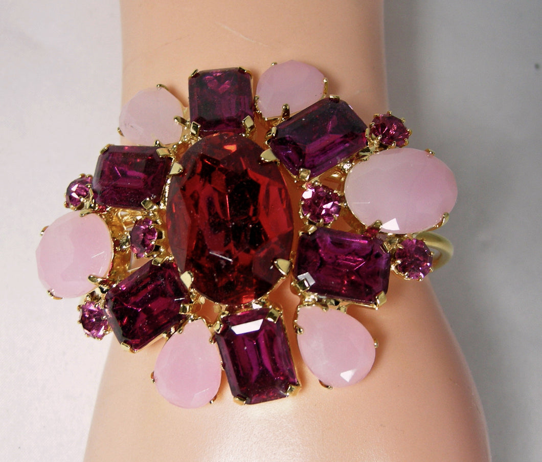 Vintage 1930s Signed Czech Red & Pink Cuff Bracelet - JD10199