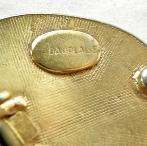 Vintage Large Signed Dauplaise Oval Earrings