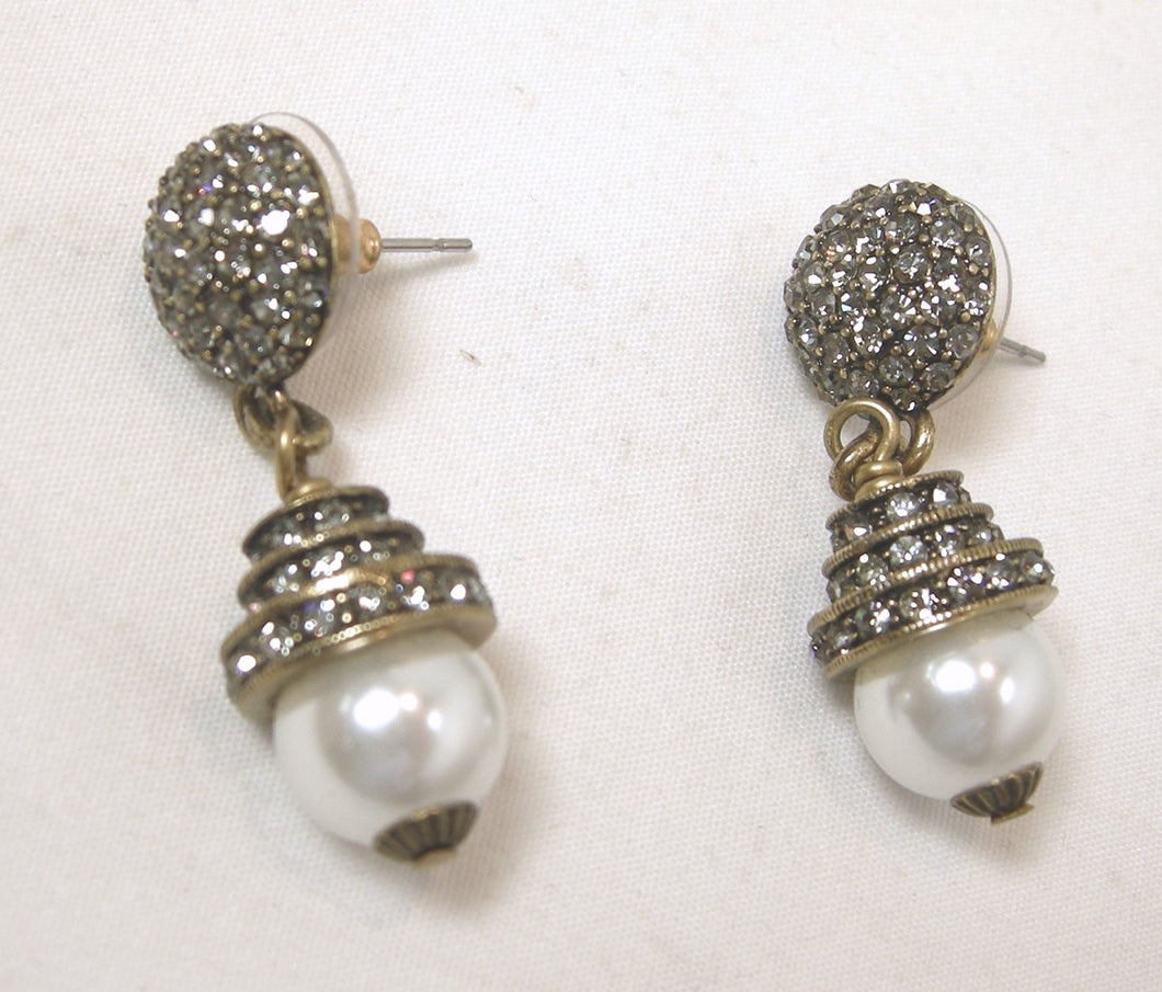 Heidi Daus Faux Pearl & Crystal Earrings