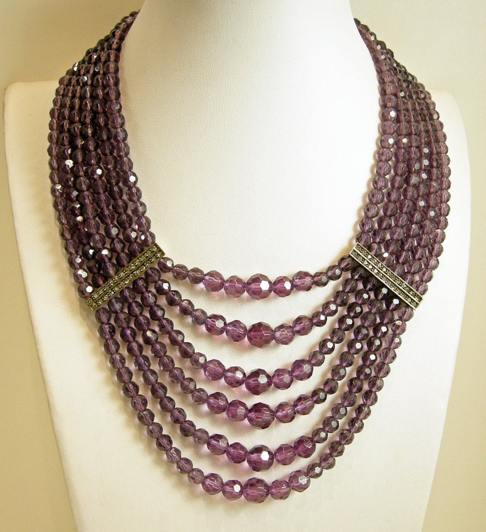 Signed Heidi Daus 6-Strand Amethyst Bead & Crystals Necklace