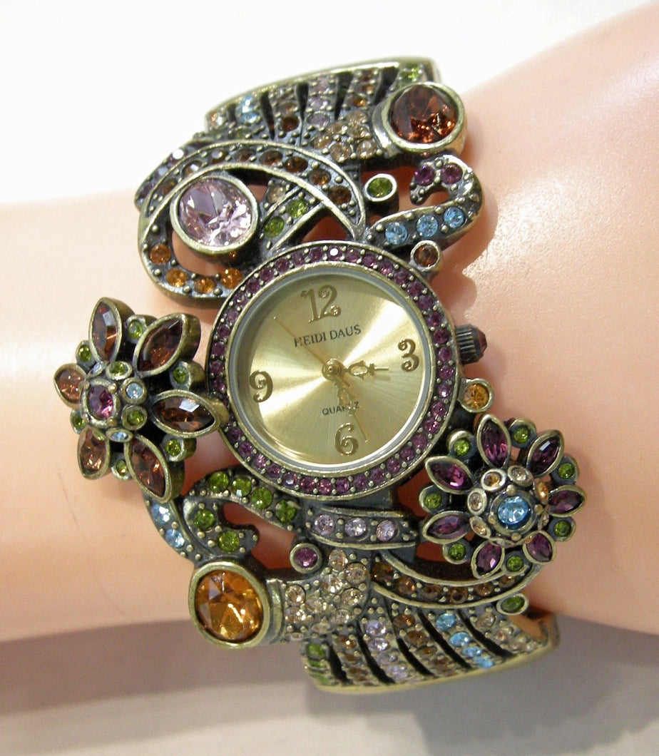 Signed Heidi Daus Multi-Color Crystal Bracelet With Working Watch