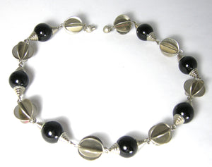 Vintage 1930s Rare Art Deco Onyx And Chrome Necklace
